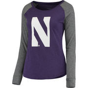 Women's Purple/Gray Northwestern Wildcats Preppy Elbow Patch Slub Long Sleeve T-Shirt