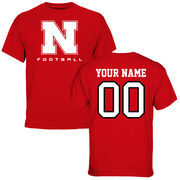 Men's Red Nebraska Cornhuskers Personalized Football T-Shirt