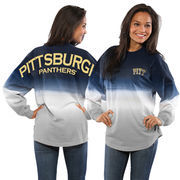 Women's Navy Pitt Panthers Ombre Long Sleeve Dip-Dyed Spirit Jersey