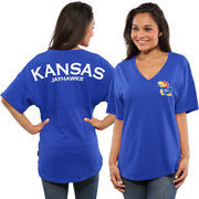 Women's Royal Kansas Jayhawks Spirit Jersey Oversized T-Shirt