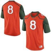 No. 8 Miami Hurricanes Nike Replica Football Jersey - Orange