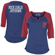 Women's Blue Kansas Jayhawks Baja 3/4 Raglan Sleeve T-Shirt