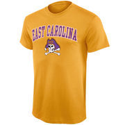 Mens Gold East Carolina Pirates Arch Over Logo T-Shirt