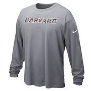 Nike Harvard Crimson Heathered Gray Long Sleeve Performance T-Shirt