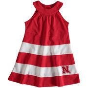Girl's Toddler Scarlet Nebraska Cornhuskers Ellee Wide Stripe Dress