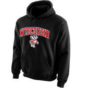 Men's New Agenda Black Wisconsin Badgers Midsize Arch Over Logo Hoodie