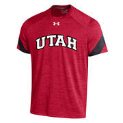 Men's Under Armour Red Utah Utes 2016 Sideline Microstripe Performance T-Shirt