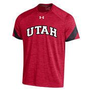 Men's Under Armour Red Utah Utes 2016 Sideline Microstripe Performance T-Shirt
