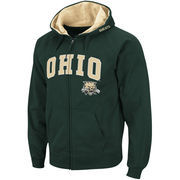 Men's Stadium Athletic Green Ohio Bobcats Arch & Logo Full Zip Hoodie