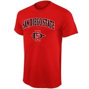 Mens San Diego State Aztecs Scarlet Mid Size Arch Over Logo T-Shirt
