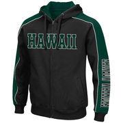 Men's Colosseum Black/Green Hawaii Warriors Thriller II Full-Zip Hoodie