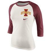 Women's Cream/Cardinal Iowa State Cyclones Veer Pattern Tri-Blend 3/4-Sleeve Raglan T-Shirt
