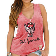 Women's Original Retro Brand Red NC State Wolfpack Relaxed Henley V-Neck Tri-Blend Tank Top
