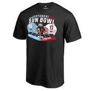 Men's Fanatics Branded Black North Carolina Tar Heels vs. Stanford Cardinal 2016 Sun Bowl Motion Matchup T-Shirt