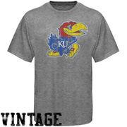 Kansas Jayhawks Distressed Big Logo Ring Spun T-Shirt - Gray