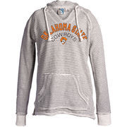 Women's Blue 84 Cream Oklahoma State Cowboys Striped French Terry V-Neck Pullover Hoodie