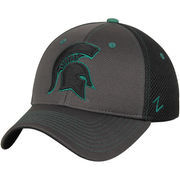 Men's Zephyr Gray/Black Michigan State Spartans Primary Logo Black Light Flex Hat