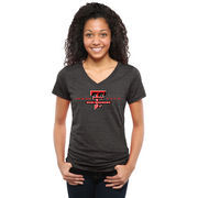 Women's Black Texas Tech Red Raiders Classic Wordmark Tri-Blend V-Neck T-Shirt