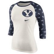 Women's Cream/Navy BYU Cougars Veer Pattern Tri-Blend 3/4-Sleeve Raglan T-Shirt