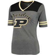 Women's Colosseum Charcoal/Black Purdue Boilermakers Sparkle Twist V-Neck T-Shirt