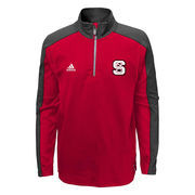 Youth adidas Red NC State Wolfpack Sideline Quarter-Zip Pullover Jacket