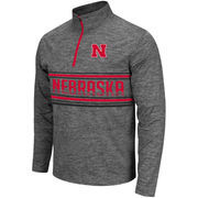 Men's Colosseum Heathered Grey Nebraska Cornhuskers Brisk Quarter-Zip Pullover Jacket