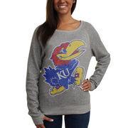 Kansas Jayhawks Ladies Big Canvas Knobi Fleece Pullover Sweatshirt - Ash