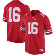 Men's Nike #16 Scarlet Ohio State Buckeyes Game Football Jersey