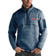 Men's Antigua Heathered Navy Ole Miss Rebels Fortune 1/2-Zip Pullover Sweater