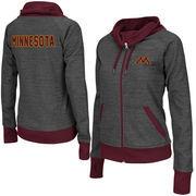 Women's Adult Colosseum Charcoal Minnesota Golden Gophers Velocity Cowl Neck Full Zip Jacket