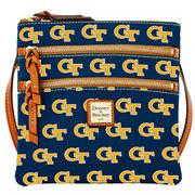 Women's Dooney & Bourke Navy Georgia Tech Yellow Jackets Triple-Zip Crossbody Purse