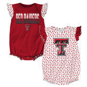 Newborn & Infant Girls Red Texas Tech Red Raiders Polka Dot 2-Pack Bodysuit Set