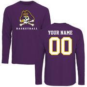Men's Purple East Carolina Pirates Personalized Basketball Long Sleeve T-Shirt