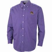 Men's East Carolina Pirates Purple/White Box Plaid Poplin Button-Down Long Sleeve Shirt