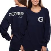 Women's Georgetown Hoyas Navy Blue Pom Pom Jersey Oversized Long Sleeve T-Shirt