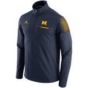 Men's Brand Jordan Heather Navy Michigan Wolverines 2016 Elite Coaches Dri-FIT Half Zip Jacket