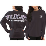 Women's Northwestern Wildcats Black Aztec Sweeper Long Sleeve Oversized Top