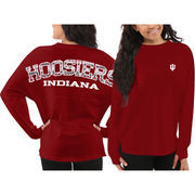 Women's Indiana Hoosiers Red Aztec Sweeper Long Sleeve Oversized Top