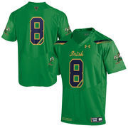 Men's Under Armour No. 8 Kelly Green Notre Dame Fighting Irish 2015 Shamrock Series Premier Football Jersey
