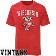 Wisconsin Badgers Big Arch N' Logo Ring Spun T-Shirt - Heathered Red
