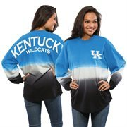 Women's Royal Kentucky Wildcats Ombre Long Sleeve Dip-Dyed Spirit Jersey