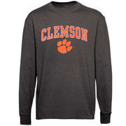 Men's New Agenda Charcoal Clemson Tigers Midsize Arch Over Mascot Long Sleeve T-Shirt