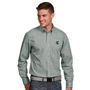Men's Antigua Green Michigan State Spartans Associate Woven Long Sleeve Button-Down Shirt