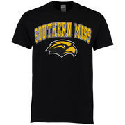 Men's New Agenda Black Southern Miss Golden Eagles Mid-Size Arch Over Logo T-Shirt