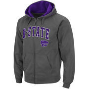 Men's Stadium Athletic Charcoal Kansas State Wildcats Arch & Logo Full Zip Hoodie