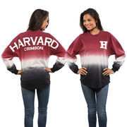 Women's Cardinal Harvard Crimson Ombre Long Sleeve Dip-Dyed Spirit Jersey