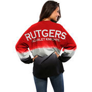 Women's Scarlet Rutgers Scarlet Knights Ombre Long Sleeve Dip-Dyed Spirit Jersey