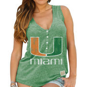 Women's Original Retro Brand Green Miami Hurricanes Relaxed Henley V-Neck Tri-Blend Tank Top
