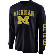 Mens Michigan Wolverines Navy Blue Arch & Logo Long Sleeve T-Shirt
