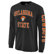 Men's Fanatics Branded Black Oklahoma State Cowboys Distressed Arch Over Logo Long Sleeve Hit T-Shirt